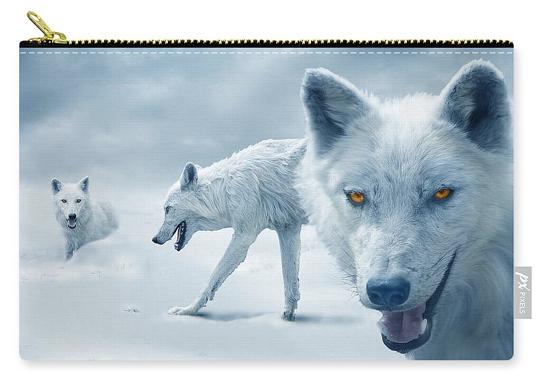 Arctic Carry-all Pouch featuring the photograph Arctic Wolves by Mal Bray
