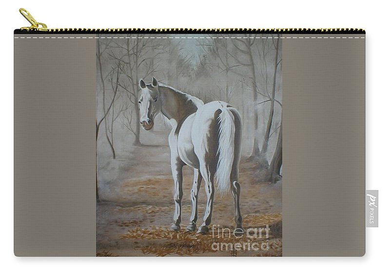 White Horse Looking Autumn Leaves Trees Avenue Shadows Carry-all Pouch featuring the painting Are You Coming by Pauline Sharp