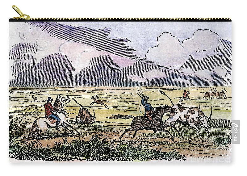 1853 Carry-all Pouch featuring the photograph Argentina: Gauchos, 1853. Gauchos Catching Cattle On The Argentine Pampas. Wood Engraving, American, 1853 by Granger