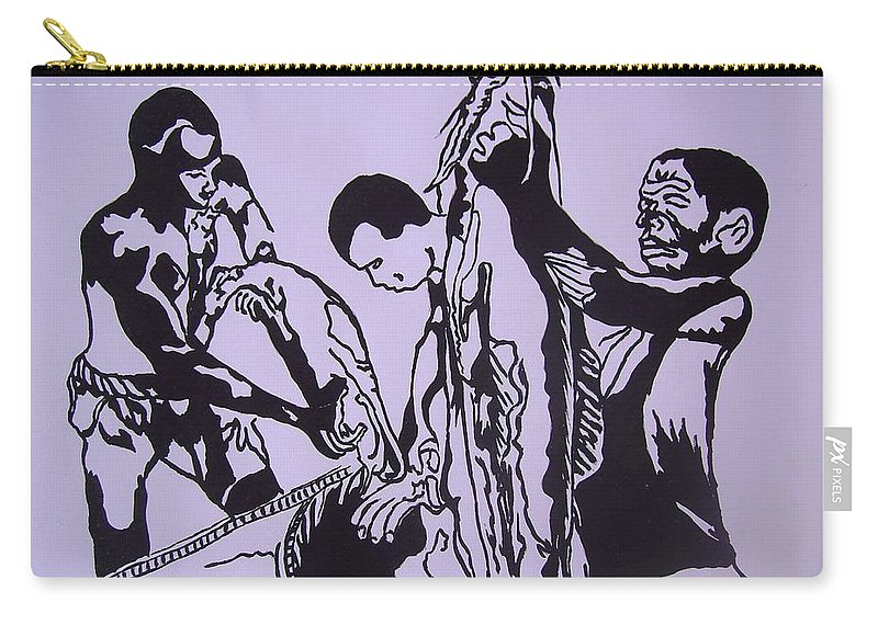 Festival Carry-all Pouch featuring the painting Argungun Fish Festival by Olaoluwa Smith