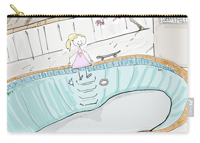 Blue Tile Obsession Carry-all Pouch featuring the digital art Arial Skates Pools by Arial Starr