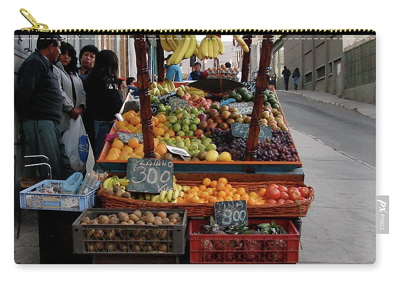 Arica Carry-all Pouch featuring the photograph Arica Chile Fruit Stand by Brett Winn
