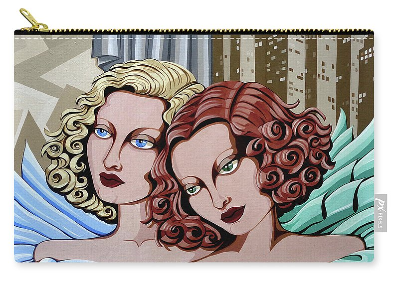 Portrait Carry-all Pouch featuring the painting Arielle And Gabrielle by Tara Hutton