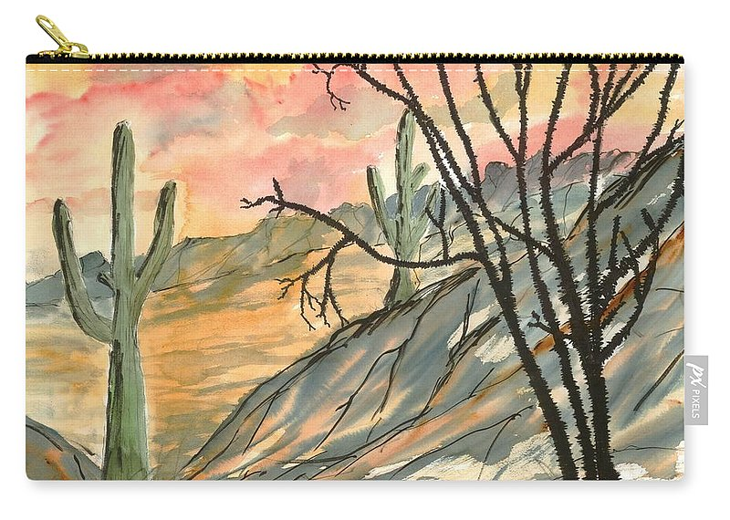 Drawing Carry-all Pouch featuring the painting Arizona Evening Southwestern landscape painting poster print by Derek Mccrea