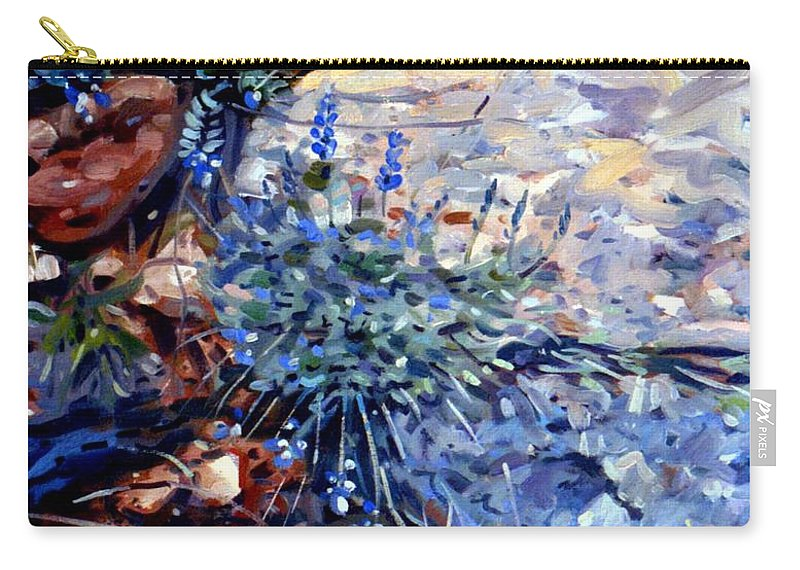 Blue Lupens Carry-all Pouch featuring the painting Arizona Flora Study by Donald Maier
