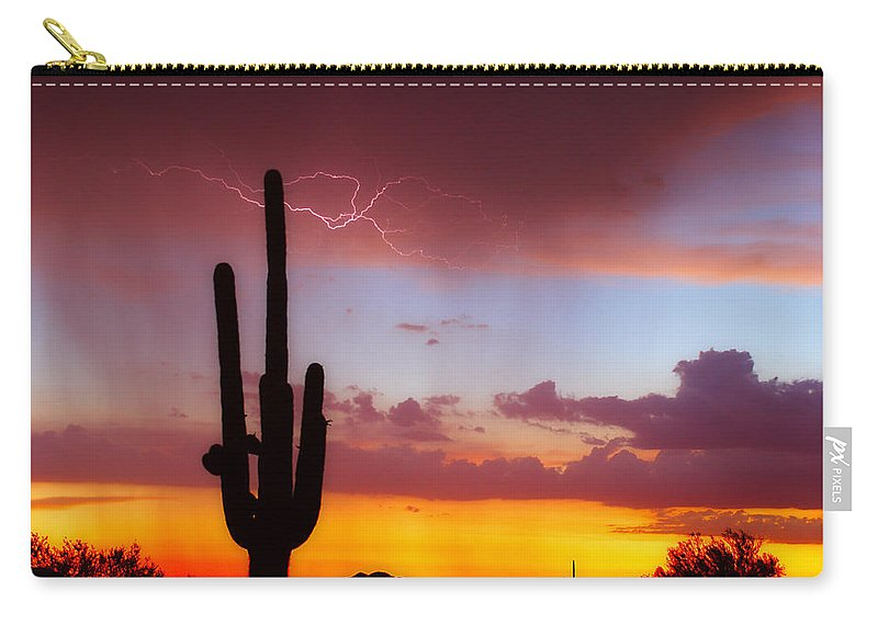 Arizona Carry-all Pouch featuring the photograph Arizona Lightning Sunset by James BO Insogna