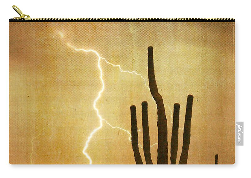 Arizona Carry-all Pouch featuring the photograph Arizona Saguaro Lightning Strike Poster Print by James BO Insogna