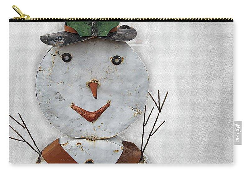 Snowman Carry-all Pouch featuring the digital art Arizona Snowman by Elisabeth Lucas