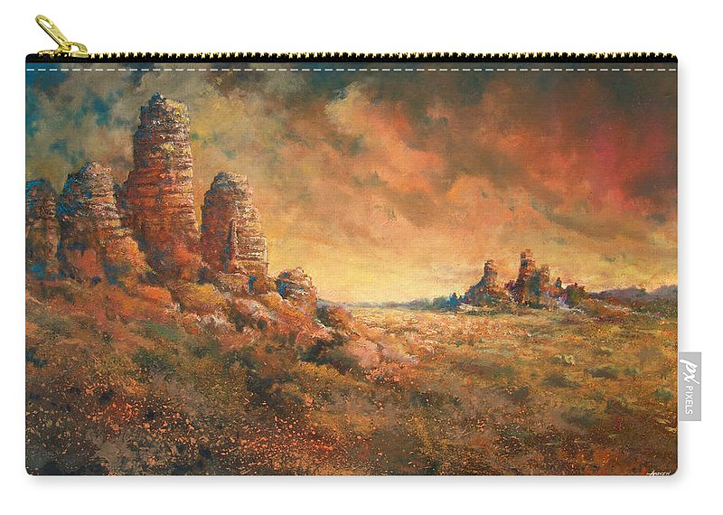 Landscape Carry-all Pouch featuring the painting Arizona Sunset by Andrew King