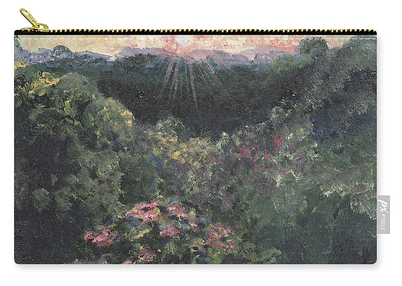 Landscape Carry-all Pouch featuring the painting Arkansas Mountain Sunset by Nadine Rippelmeyer