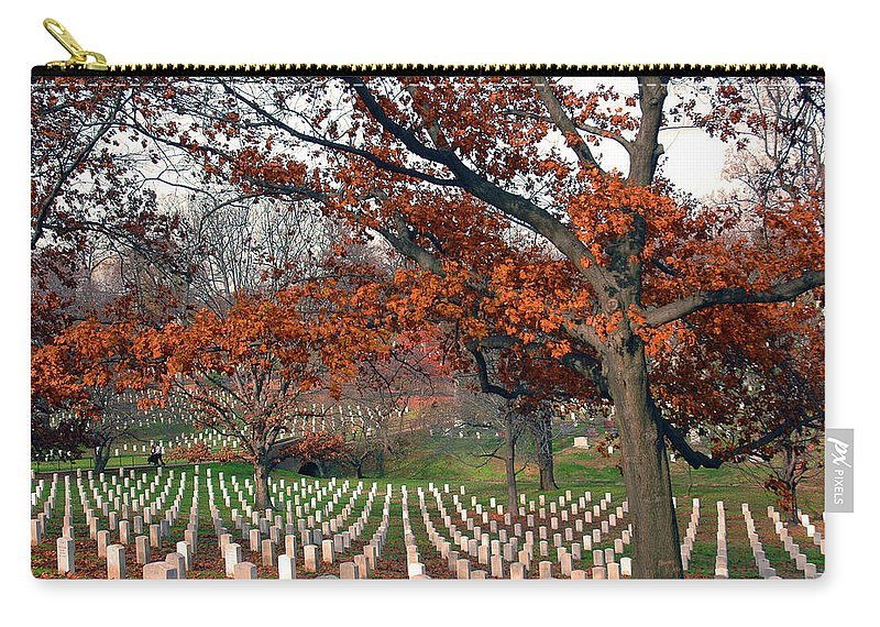 Veteran Carry-all Pouch featuring the photograph Arlington Cemetery In Fall by Carolyn Marshall