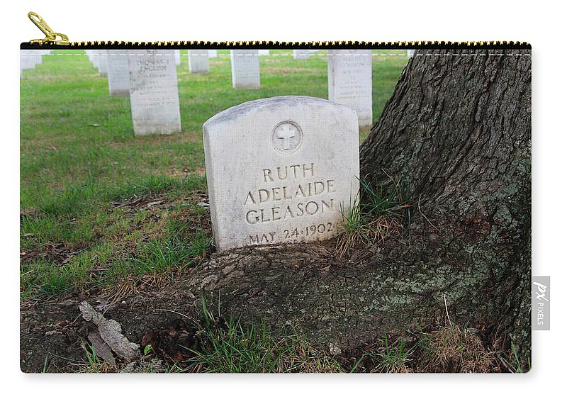Arlington Carry-all Pouch featuring the photograph Arlington Tombstone Lodged In Tree Trunk by Cora Wandel