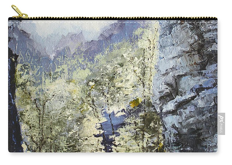 Landscape Carry-all Pouch featuring the painting Around The Bend by Todd Blanchard