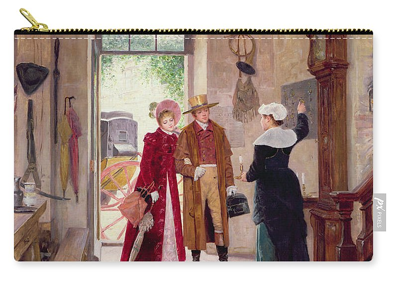 Arrival Carry-all Pouch featuring the painting Arrival At The Inn by Charles Edouard Delort
