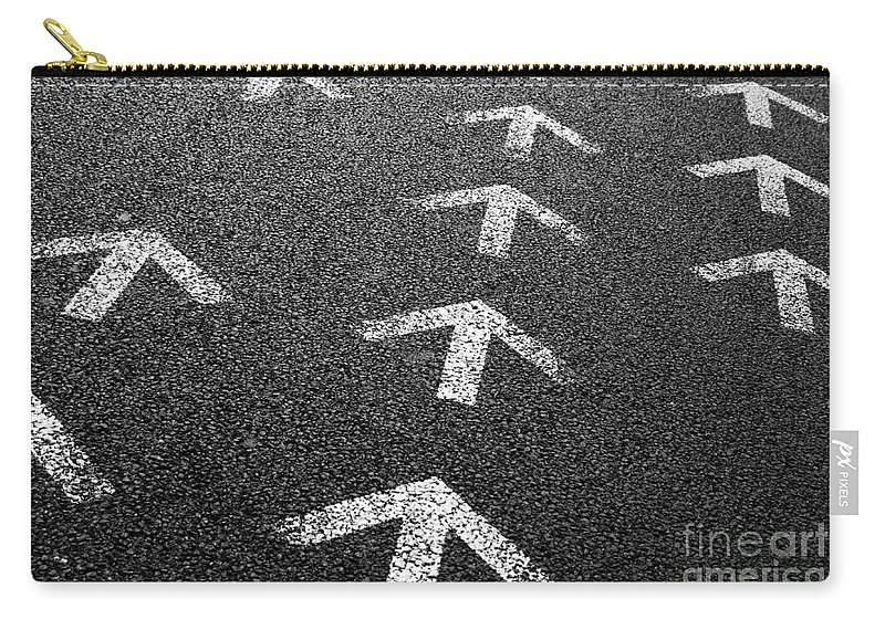 Abstract Carry-all Pouch featuring the photograph Arrows On Asphalt by Carlos Caetano