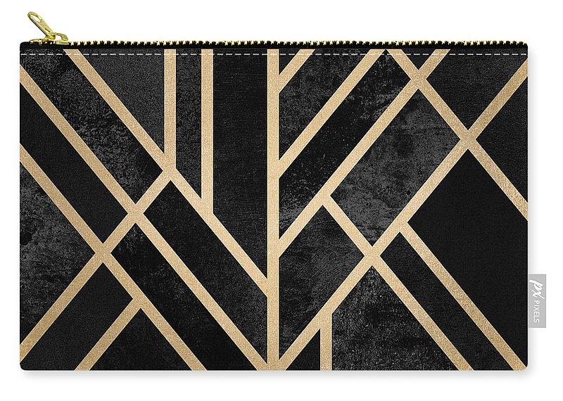Digital Carry-all Pouch featuring the digital art Art Deco Black by Elisabeth Fredriksson