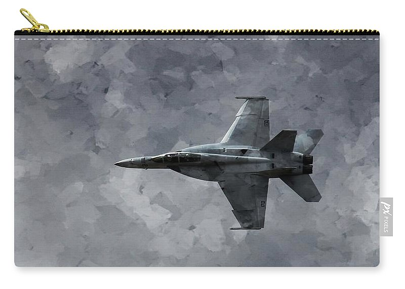 F18 Carry-all Pouch featuring the photograph Art In Flight F-18 Fighter by Aaron Lee Berg