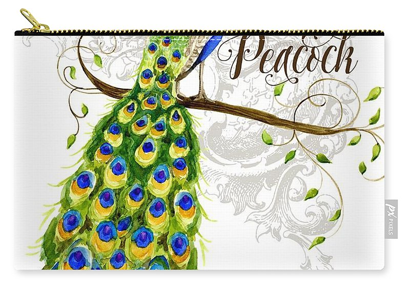 Art Nouveau Carry-all Pouch featuring the painting Art Nouveau Peacock W Swirl Tree Branch And Scrolls by Audrey Jeanne Roberts