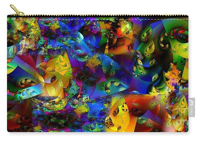 Abstract Carry-all Pouch featuring the digital art Arthropod Rainbow by Ron Bissett