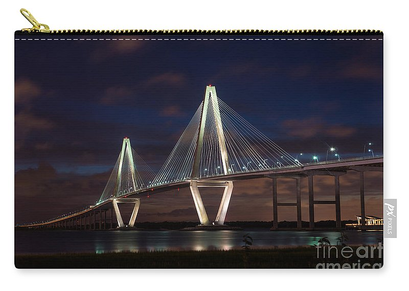 America Carry-all Pouch featuring the photograph Arthur Ravenel At Night by Jennifer White