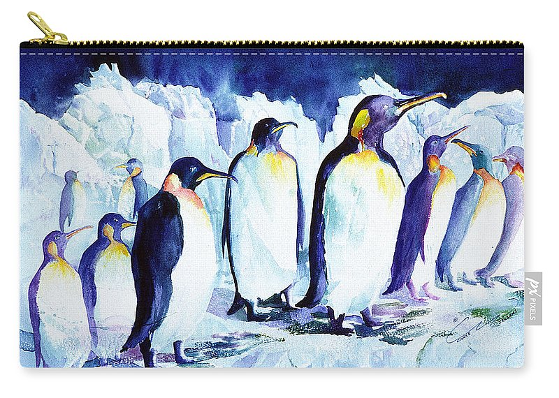 Animals Carry-all Pouch featuring the painting Arctic Penquins by Connie Williams
