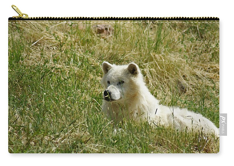 Animals Carry-all Pouch featuring the mixed media Artic Wolf 2 Dry Brushed by Ernie Echols