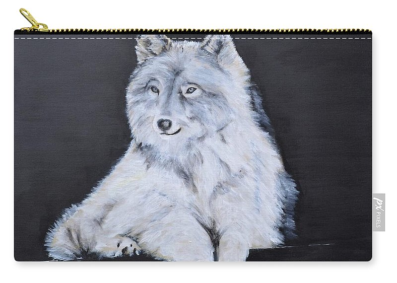 Wolf Carry-all Pouch featuring the painting Thunder by Jean-Marie Douteur