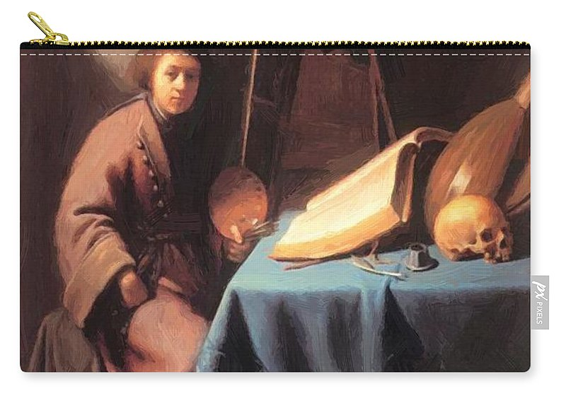 Artist Carry-all Pouch featuring the painting Artist In His Studio 1632 by Dou Gerrit