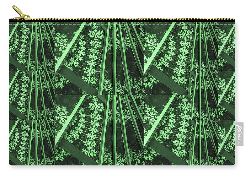 Green Carry-all Pouch featuring the mixed media Artistic Sparkle Floral Green Graphic Art Very Elegant One Of A Kind Work That Will Show Great On An by Navin Joshi