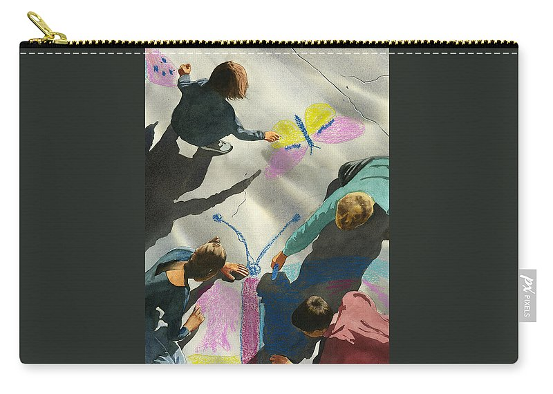 Kids Carry-all Pouch featuring the painting Artists At Work by Dale Cooper