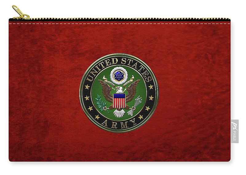 �military Insignia 3d� By Serge Averbukh Carry-all Pouch featuring the digital art U. S. Army Emblem Over Red Velvet by Serge Averbukh