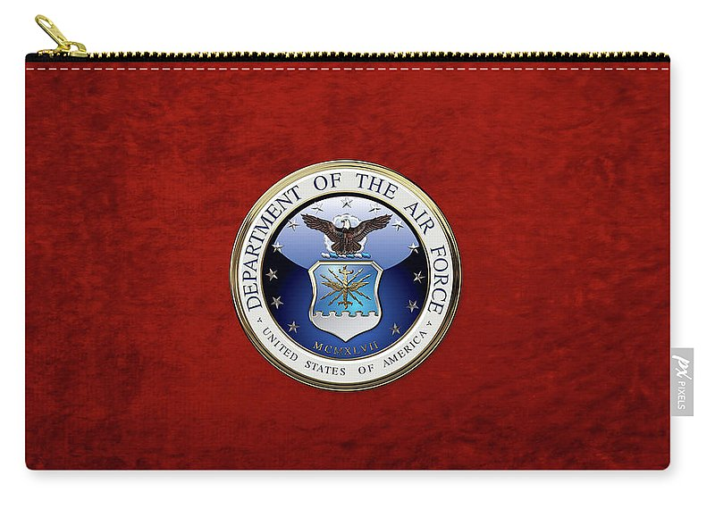 'military Insignia 3d' By Serge Averbukh Carry-all Pouch featuring the digital art U. S. Air Force - U S A F Emblem Over Red Velvet by Serge Averbukh