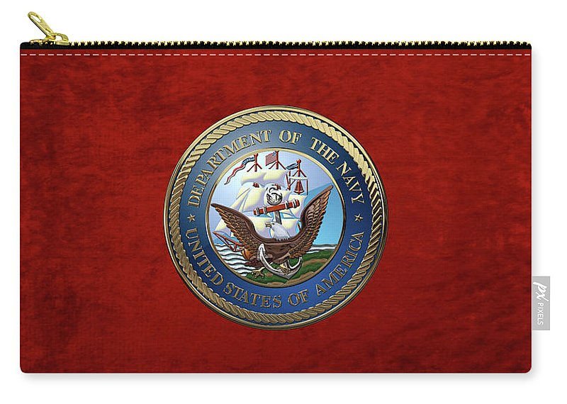 'military Insignia & Heraldry 3d' Collection By Serge Averbukh Carry-all Pouch featuring the digital art U. S. Navy - U S N Emblem Over Red Velvet by Serge Averbukh