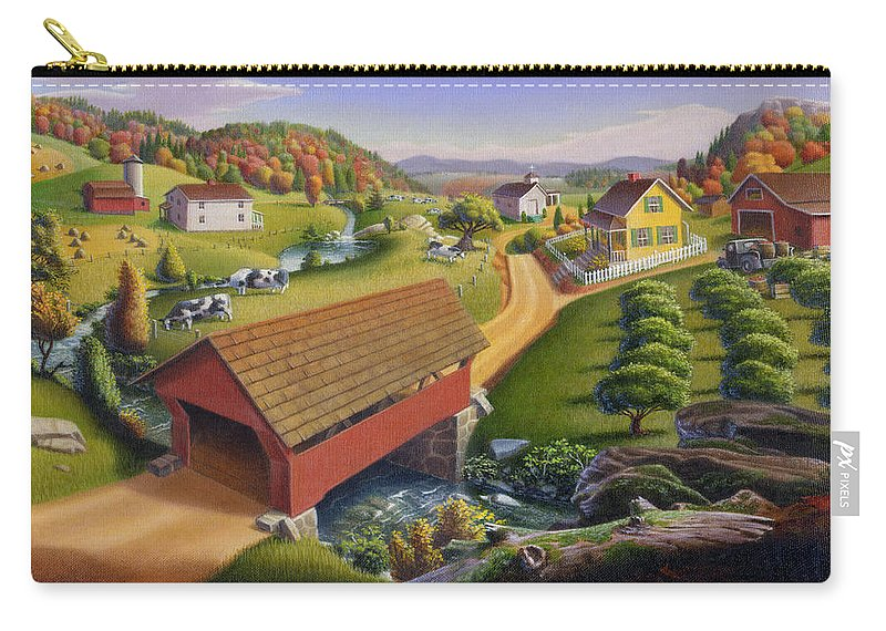 Covered Bridge Carry-all Pouch featuring the painting Folk Art Covered Bridge Appalachian Country Farm Summer Landscape - Appalachia - Rural Americana by Walt Curlee