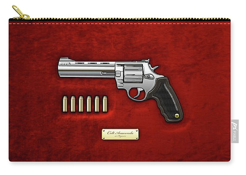 'the Armory' Collection By Serge Averbukh Carry-all Pouch featuring the digital art .44 Magnum Colt Anaconda With Ammo On Red Velvet by Serge Averbukh