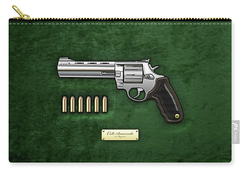 'the Armory' Collection By Serge Averbukh Carry-all Pouch featuring the digital art .44 Magnum Colt Anaconda With Ammo On Green Velvet by Serge Averbukh