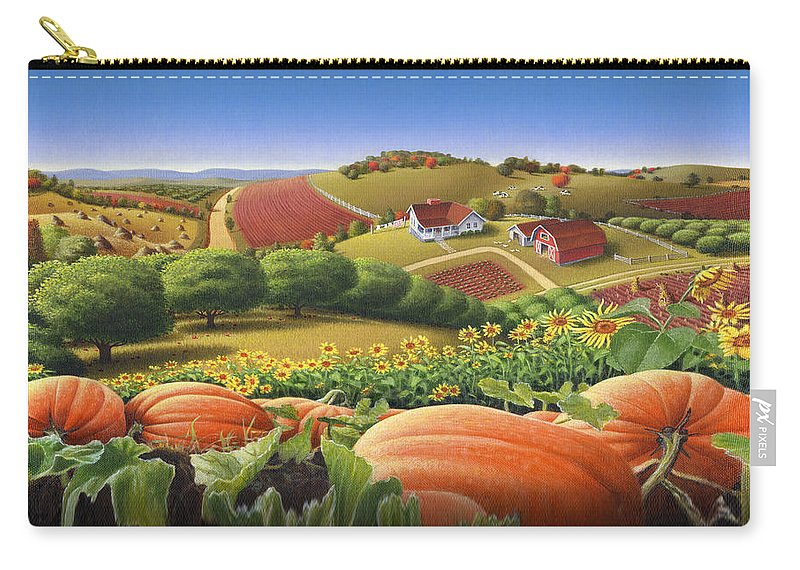 Pumpkin Carry-all Pouch featuring the painting Farm Landscape - Autumn Rural Country Pumpkins Folk Art - Appalachian Americana - Fall Pumpkin Patch by Walt Curlee