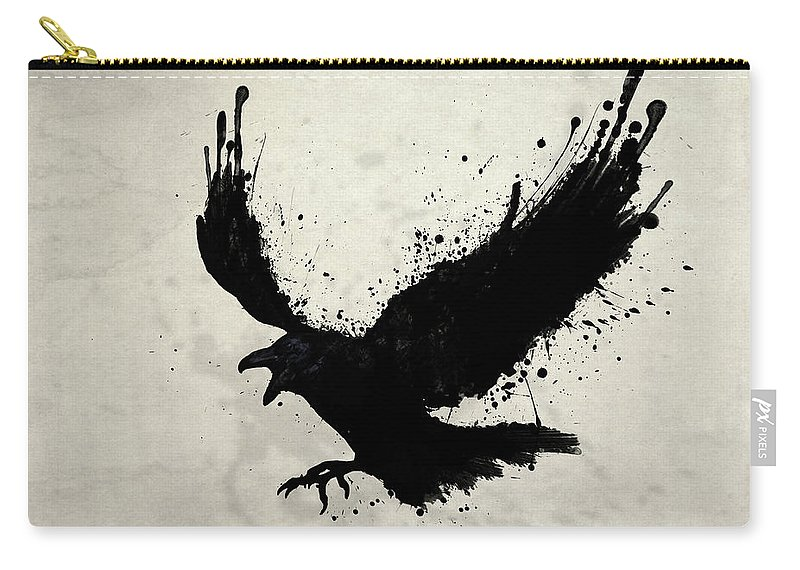 Raven Carry-all Pouch featuring the digital art Raven by Nicklas Gustafsson