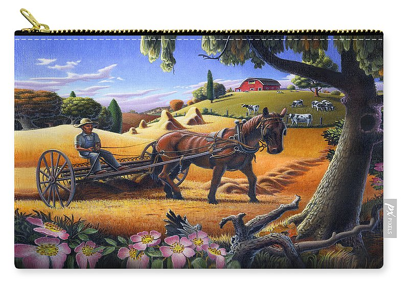 Raking Hay Carry-all Pouch featuring the painting Raking Hay Field Rustic Country Farm Folk Art Landscape by Walt Curlee