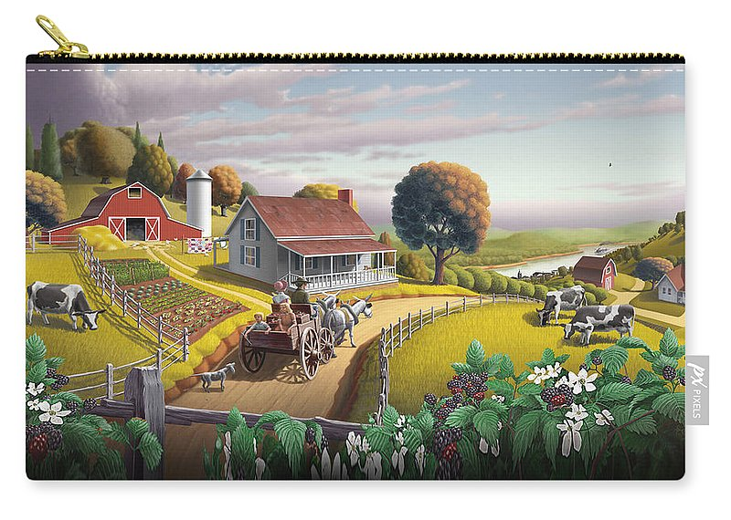 Farm Landscape Carry-all Pouch featuring the painting Appalachian Blackberry Patch Rustic Country Farm Folk Art Landscape - Rural Americana - Peaceful by Walt Curlee