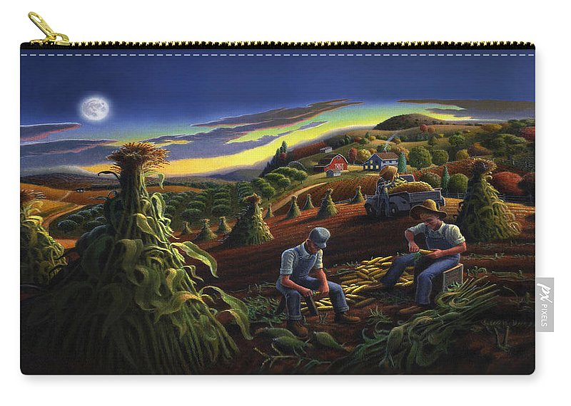 Autumn Carry-all Pouch featuring the painting Autumn Farmers Shucking Corn Appalachian Rural Farm Country Harvesting Landscape - Harvest Folk Art by Walt Curlee
