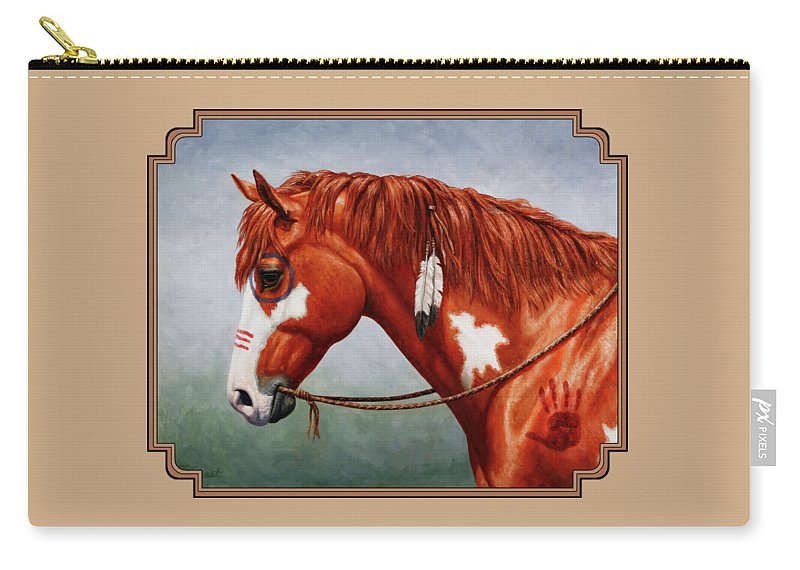 Horse Carry-all Pouch featuring the painting Native American War Horse by Crista Forest
