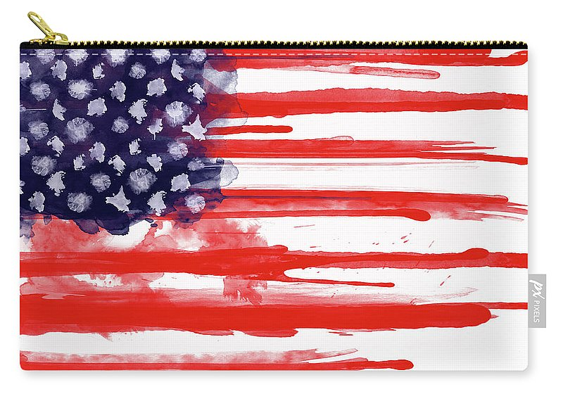America Carry-all Pouch featuring the painting American Spatter Flag by Nicklas Gustafsson