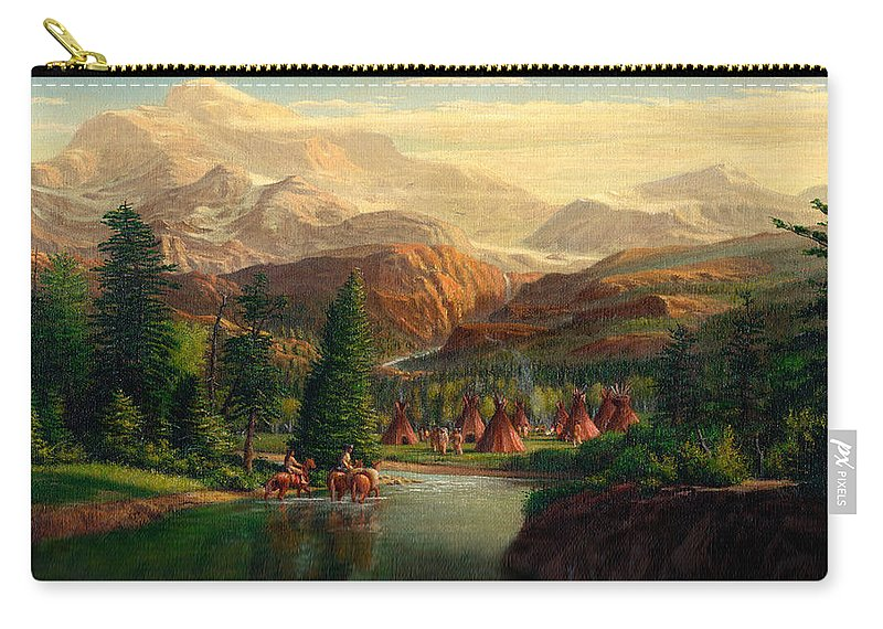 Indian Village Carry-all Pouch featuring the painting Indian Village Trapper Western Mountain Landscape Oil Painting - Native Americans Americana Stream by Walt Curlee