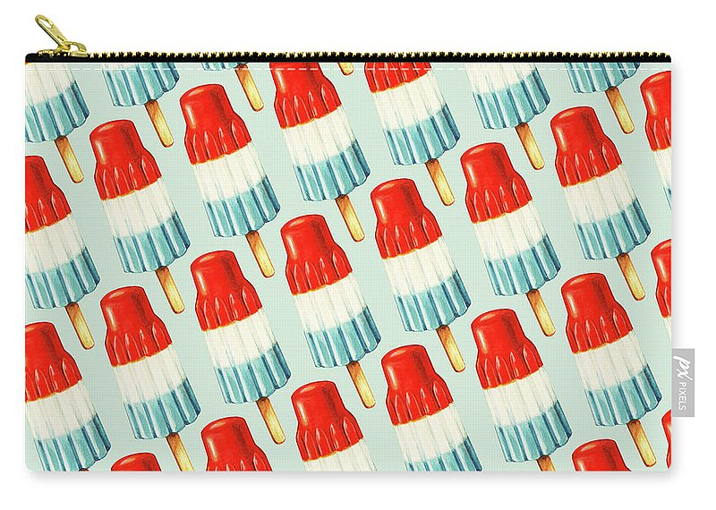 Popsicle Carry-all Pouch featuring the painting Bomb Pop Pattern by Kelly Gilleran