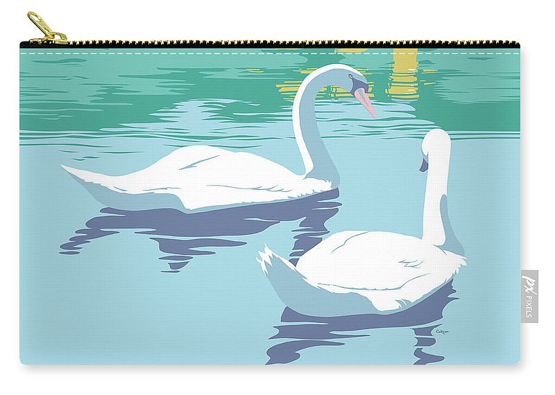 Abstract Carry-all Pouch featuring the painting Abstract Swans Bird Lake Pop Art Nouveau Retro 80s 1980s Landscape Stylized Large Painting by Walt Curlee