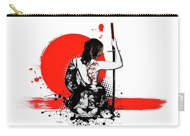 Samurai Carry-all Pouch featuring the digital art Trash Polka - Female Samurai by Nicklas Gustafsson