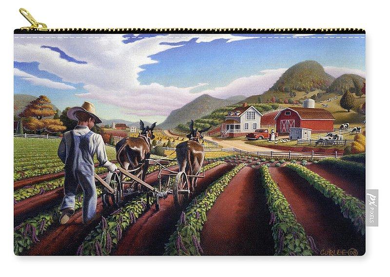 Appalachian Carry-all Pouch featuring the painting Appalachian Folk Art Summer Farmer Cultivating Peas Farm Farming Landscape Appalachia Americana by Walt Curlee