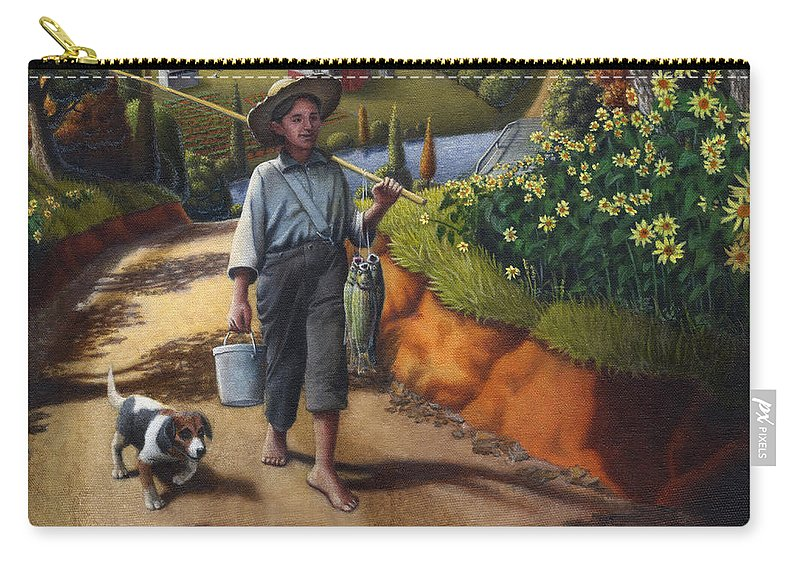 Boy And Dog Carry-all Pouch featuring the painting Boy And Dog Farm Landscape - Flashback - Childhood Memories - Americana - Painting - Walt Curlee by Walt Curlee