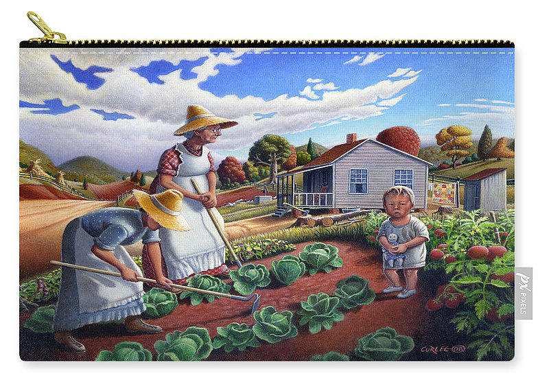 Farm Family Carry-all Pouch featuring the painting Family Vegetable Garden Farm Landscape - Gardening - Childhood Memories - Flashback - Homestead by Walt Curlee